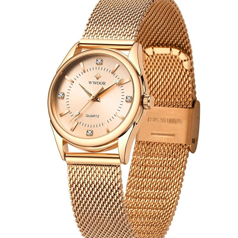 WWOOR Ladies Watch Top Brand Luxury Casual Dress Diamond Ladies Quartz Watches Gold Mesh Belt Waterproof Clock Women Reloj Mujer enlarge