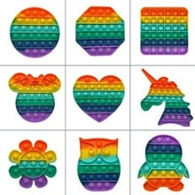 Doki Pop Fidget Reliver Stress Toys Rainbow Push It Bubble Antistress Toys Adult Children Sensory To