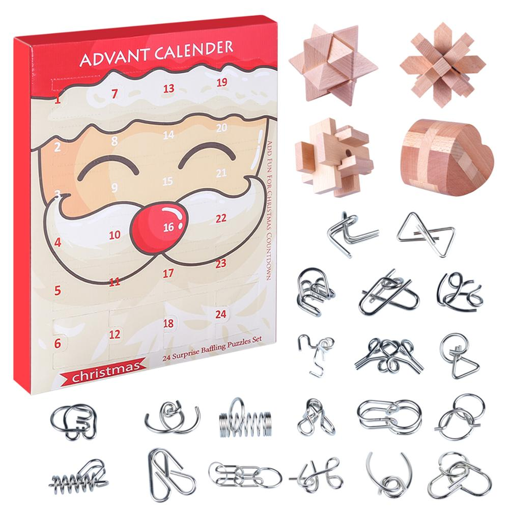 Деревянный замок любан 24 шт./компл., металлические головоломки, Обучающие игрушки, подарок для взрослых и детей-Рождественский Тип 4