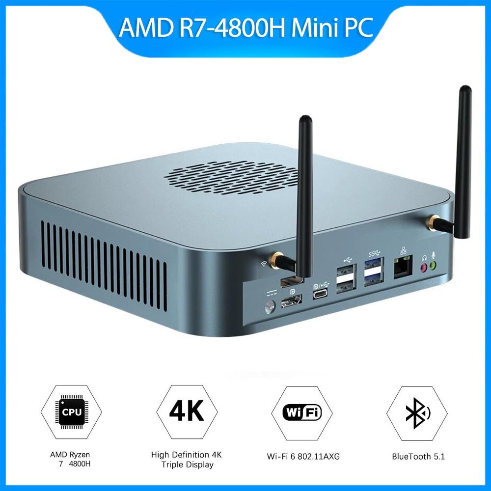MN48H AMD Ryzen 7 4800H 16/32GB DDR4-3200 512GB/1T M.2 NVME SSD ثماني النواة 2.9GHz إلى 4.2GHz حاسوب شخصي مكتبي كمبيوتر مصغر واي فاي 6 BT5.1
