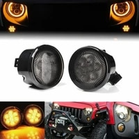 2pcs front grill led turn signal light smoke lens for jeep wrangler jk 07 17 cao car accessories