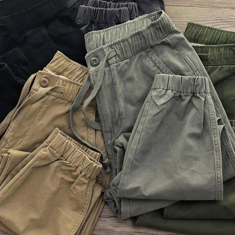 2021 Fashion Cargo Pants Men Cotton Joggers Retro Sports Loose Harem Pants Trousers Male Tactical Streetwear Men's Clothing 5XL