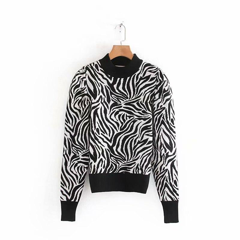Primavera de 2019 de moda de las mujeres de manga puff animal patrón señoras suéter básico de punto de corte slim casual en la calle suéter chic tops S215