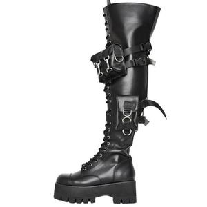 Woman Black Punk Style Pocket Over The Knee Boots Chunky Heels Thick Sole Wallet Platform Round Toe Long Boots Shoes Woman