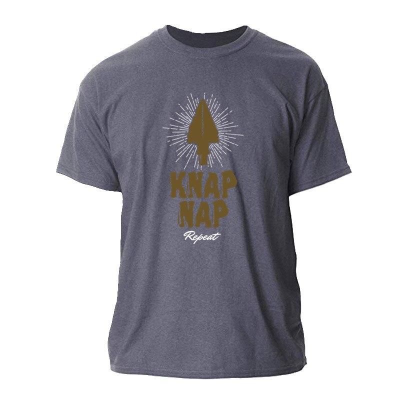 Impreso Flint Knapper Knap siesta repetir Bushcraft habilidades hombres camiseta 2020 Fitness T Shirt para hombres 100% Camiseta de algodón de las mujeres de los hombres