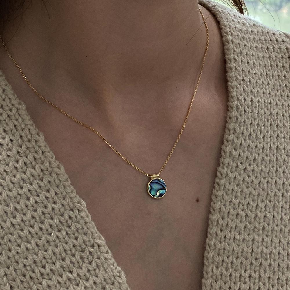 GHIDBK, gargantilla de concha de abulón de plata de ley 925, collares con diseño de concha de mar Natural, colgante, gargantillas, Collar delicado Ins