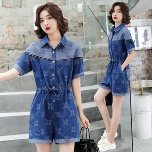 Fashion Women's Jeans jumpsuit 2021New Product Summer Thin Cowboy Jumpsuit Short Sleeve Onesies Denim Shorts Female Tooling W769