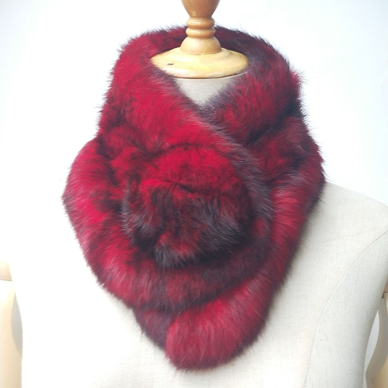 Women Winter Warm Real Rabbit Fur Scarf With Ball Casual Thick Female Fashion Genuine Fur Scarves La