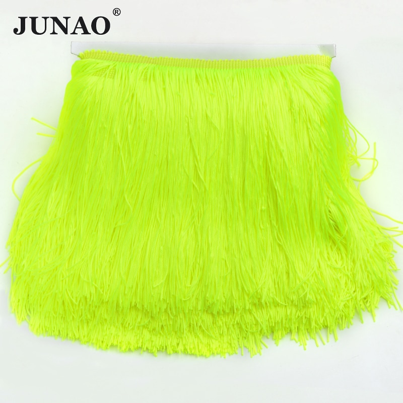 ¡JUNAO, doble línea! 20cm de largo de Color neón Chinlon borla encaje cinta de costura vestido Latina etapa ropa cortina 10 metros