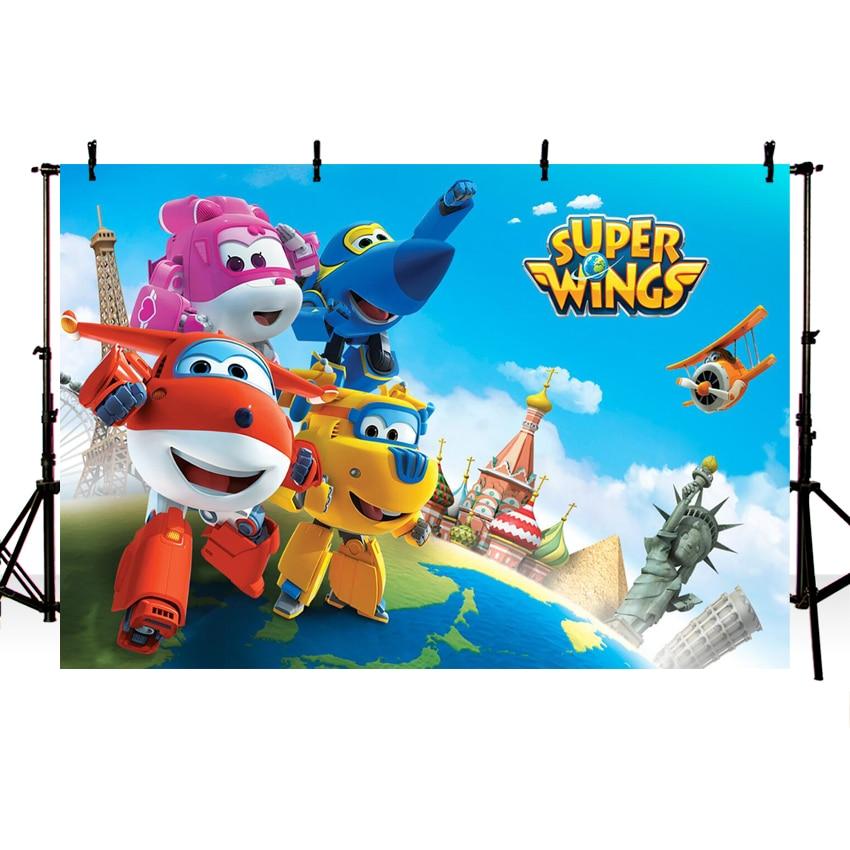 Thin Vinyl Happy Birthday Super Wings Baby Children Kids Photography Backgrounds Professional Indoor Studio Photo Backdrops