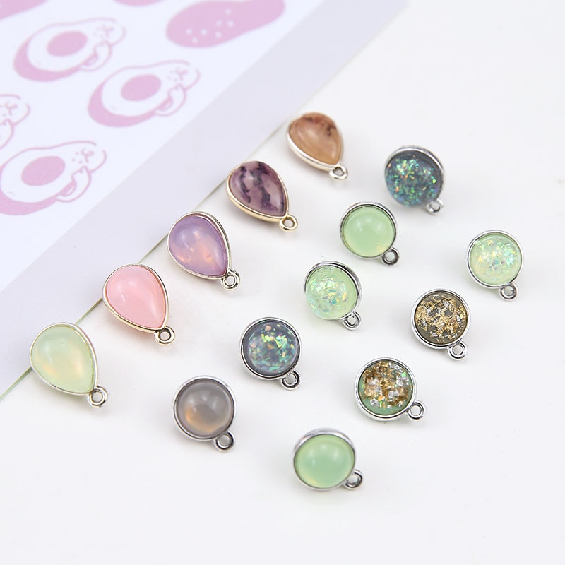 DIY, accesorios de joyería hechos a mano, cuentas coreanas para mujer, colgantes redondos, pendientes, materiales