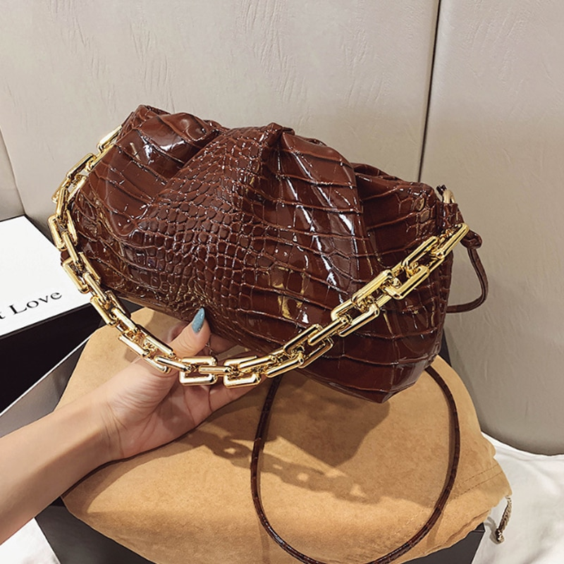 Luxurious Chain Shoulder Bag 2020 PU Leather Thick Chain Cloud Handbag Fashion Underarm Bag Crossbody Bag