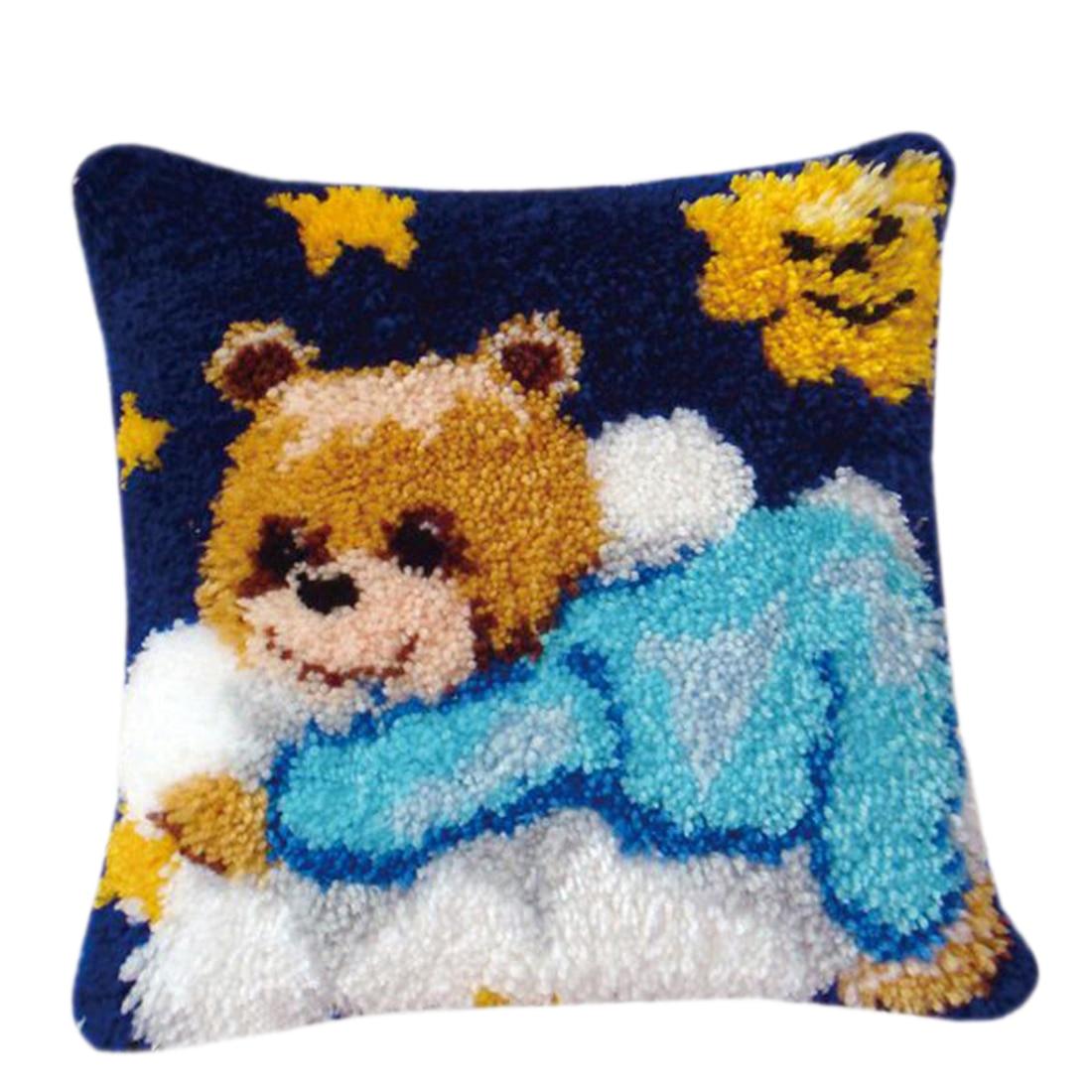 40X40cm DIY juego de aguja de lengüeta alfombra cojín alfombra de ganchillo costura artesanal regalos con tela de rejilla blanca ganchillo gancho-patrón de oso