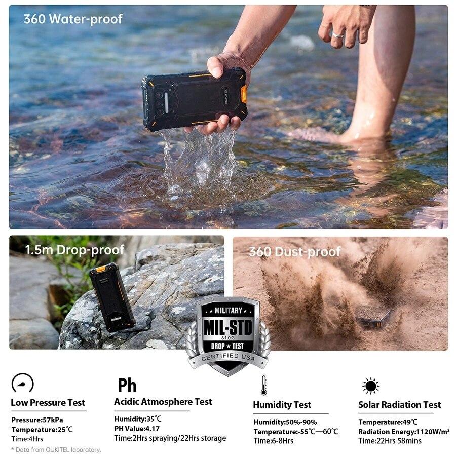 Oukitel WP9 Rugged Waterproof MobilePhone 6GB 128GB Octa Core Smartphone Helio P60 5.86