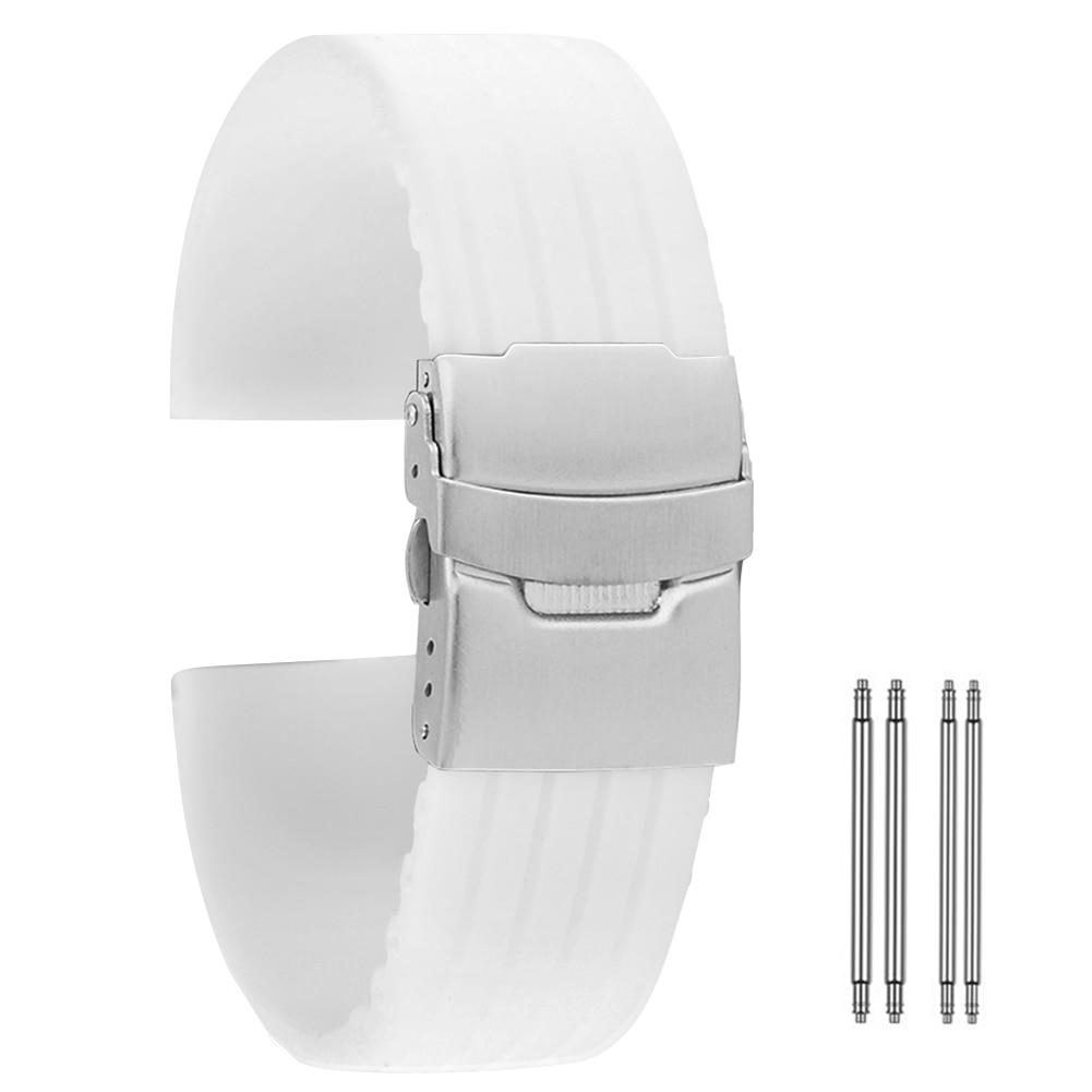 AliExpress - White Silicone Watch Strap 18mm 20mm 22mm 24mm pasek do zegarka Durable Waterproof Bracelet Watch Band cinturino orologio