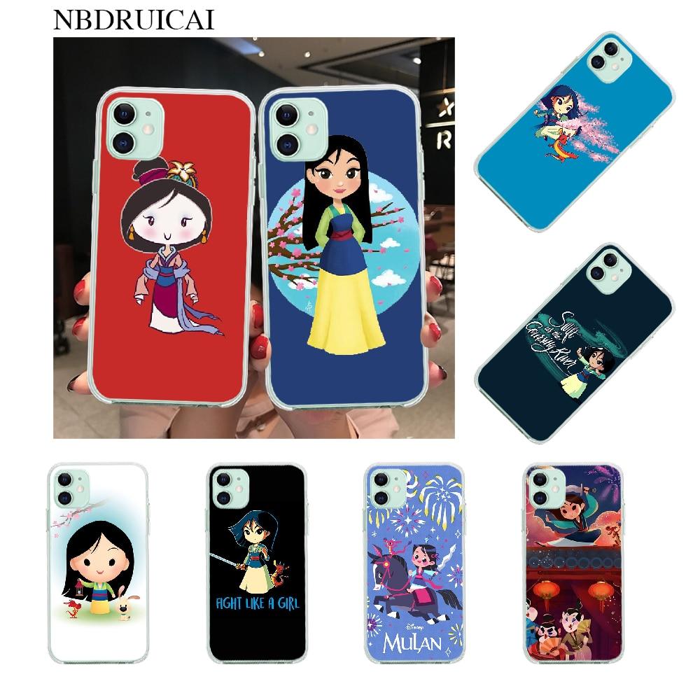 NBDRUICAI Mulan de chica de silicona suave negro teléfono caso para iPhone 11 pro XS MAX 8 7 6 6S Plus X 5S SE XR cubierta