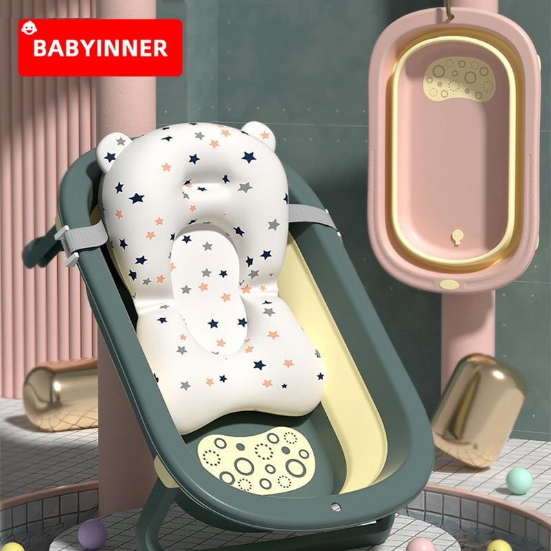 Babyinner Baby Folding Bath Tub Large Household Comfortable Bath Barrel Multifunctional Newborn Bath Bucket with Cushion Bathtub