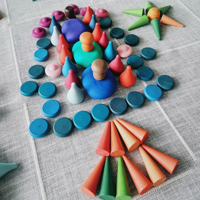Bloques de juguete de madera para niños, edificio creativo del arco iris Montessori, piezas sueltas de Educación Temprana, champiñones, regalo de cumpleaños para bebés