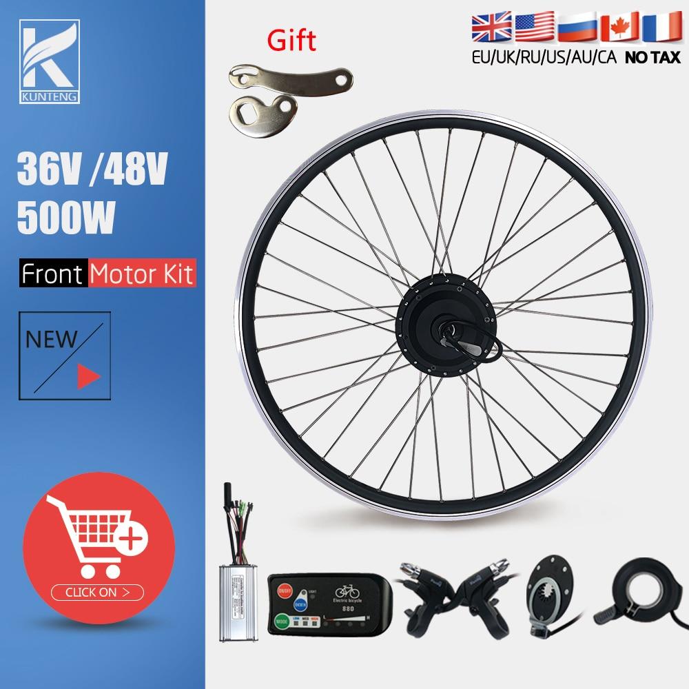 Electric Bike Conversion Kit 36V48V 500W Brushless Gear Front Wheel Hub Motor 20 24 26 27.5 28 29 Inch 700C For Ebike Motor Kit