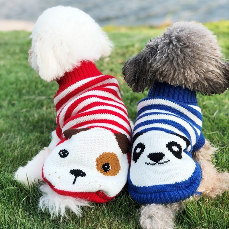 Jersey navideño para mascotas, ropa para perros de dibujos animados, ropa de invierno para perros pequeños, ropa para mascotas, abrigo de tela a ganchillo, Jersey para perros