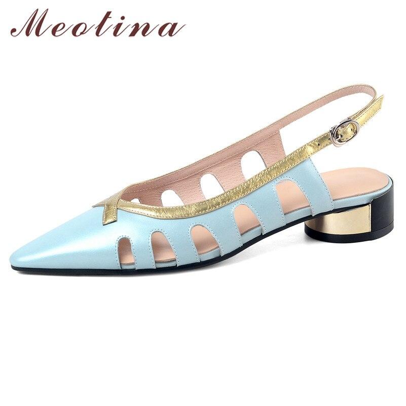 Meotina sapatos femininos recortes couro real sandálias de salto médio apontou toe saltos grossos fivela cinta senhora sandálias verão azul tamanho 42