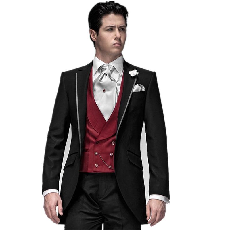 تصميم جديد الأسود العريس البدلات الرسمية رفقاء العريس الرجال بذلات الزفاف أفضل رجل الدعاوى سترة + السراويل + سترة زي أوم خطاباتخطابهزوجات