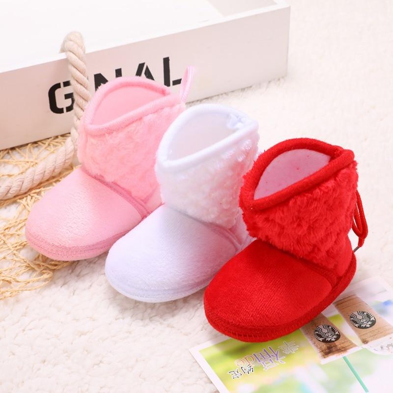 Botas de bebé para niños recién nacidos invierno más lazo de flores de algodón abrigado y suave de terciopelo botines de bebé Niña Zapatos 0-18M
