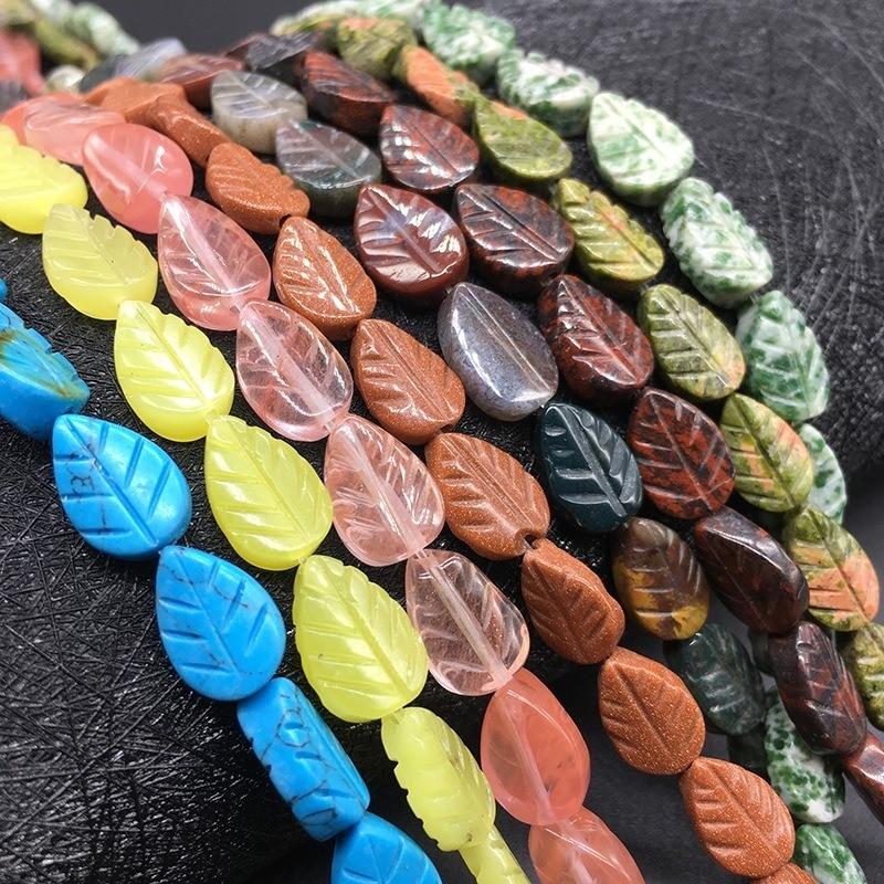Cuentas de cristal de piedra Natural, piedra arenisca, hojas talladas de cristal, pulsera hecha a mano, collar, accesorios de joyería