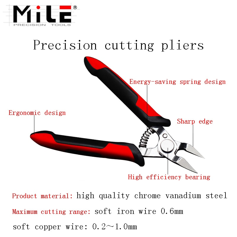 MILE 5 Inch Cutter Pliers Electrical Wire Stripper Knife Crimper Excellent Cutting Micro Shears DIY Hand Tools