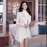2021 autumn and winter new tweed small medium and long suit coat womens hot