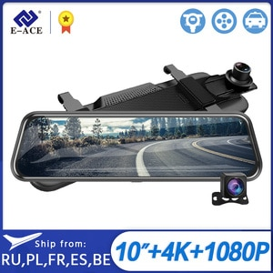 E-ACE A37P 4K Dash Камера 10 дюймов автомобиля зеркало заднего вида Dvr 2160P видео Регистраторы с 1080P зеркало заднего вида Камера видеорегистратор ночн...