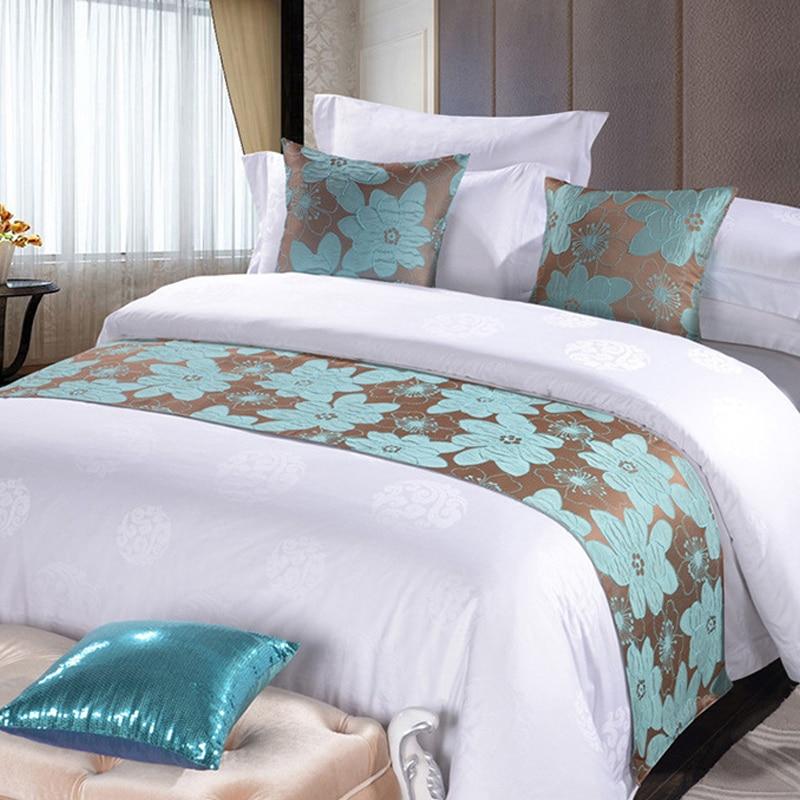 الأزرق الأزهار المفارش غطاء السرير الطويل رمي الفراش واحد الملكة سرير حجم كينج غطاء منشفة ديكورات المنزل فندق