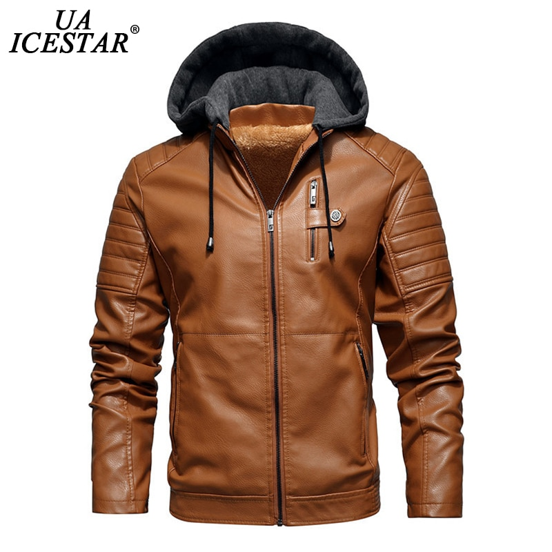 UAICESTAR Men Winter New Leather Jackets Coat Casual Fleece Thicken Motorcycle PU Jacket Biker Warm Leather Men Brand Clothing classical men leather jacket lapel full motorcycle slim cool pu jackets black white coat autumn winter clothing moto