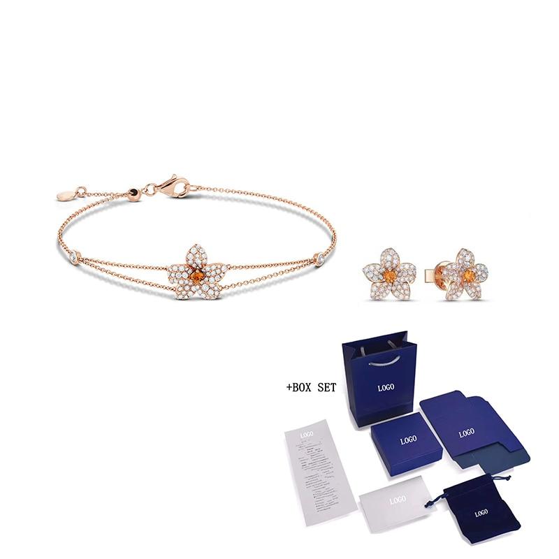 Fashion SWA New Orange Lily Petal Set Rose Gold Flower Softness Three-dimensional Petal Decoration Lady Wild Romantic Gift