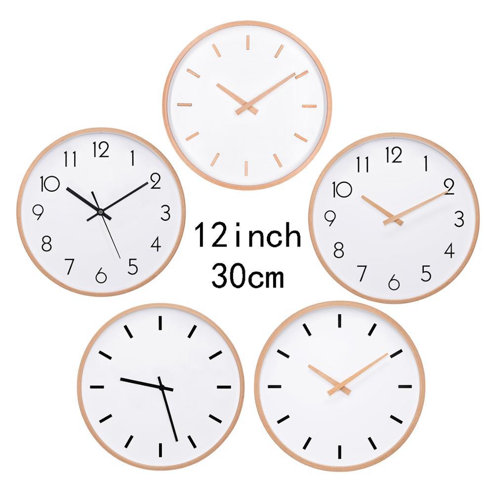 "TXL 12inch large wall clock, silent movement non-ticking, wood frame minimalism home decor 30cm 12""Analog quartz clocks AA size"