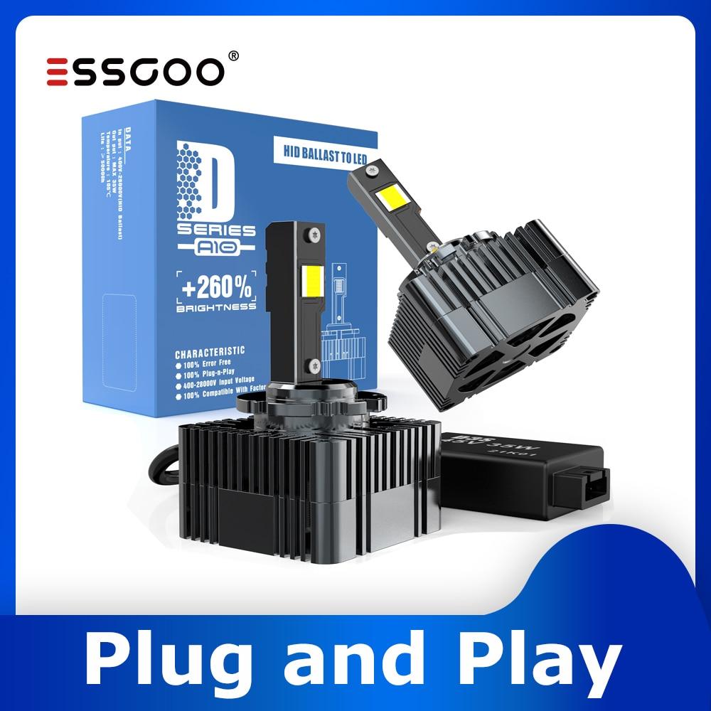 Essgoo D3S LED ضوء السيارة Canbus D1S led التوصيل والتشغيل مصباح أضاءه أمامي توربو مصباح D2S D4S السيارات 6500K 15200LM 70 واط كشافات