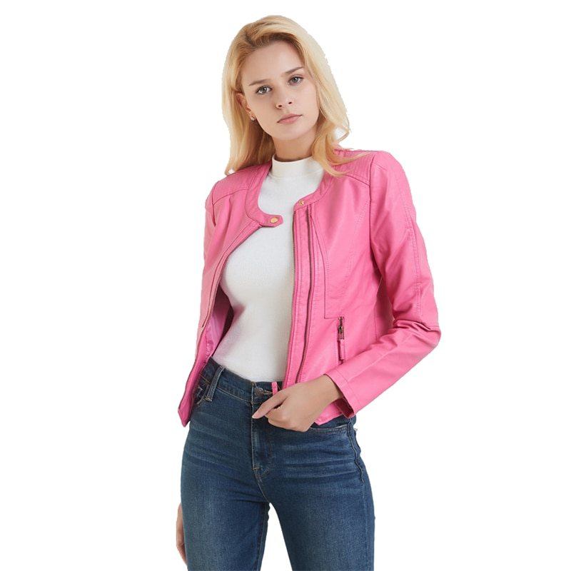 Chaqueta de motociclista de piel sintética, corta, Irregular, Rosa bonita, a la moda, para mujer, sin cuello, pequeña chaqueta de piel sintética, abrigo
