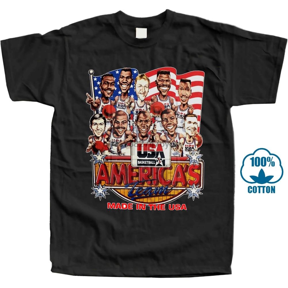 Usa baloncesto Baller 1992 Dream Team Caricature camiseta nueva manga corta Camisetas de moda para hombre Top Tees