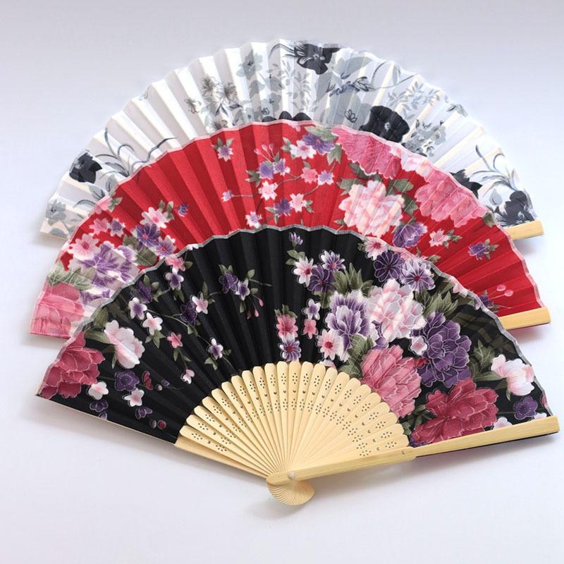 Seda clásica ventilador plegable Retro chino japonés ventilador plegable de bambú ventilador...