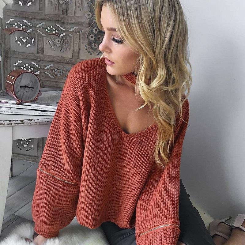 Gargantilha camisola de malha 2018 outono solto aberto zíper manga pullovers feminino v pescoço jumper inverno preto curto feminino jumpers