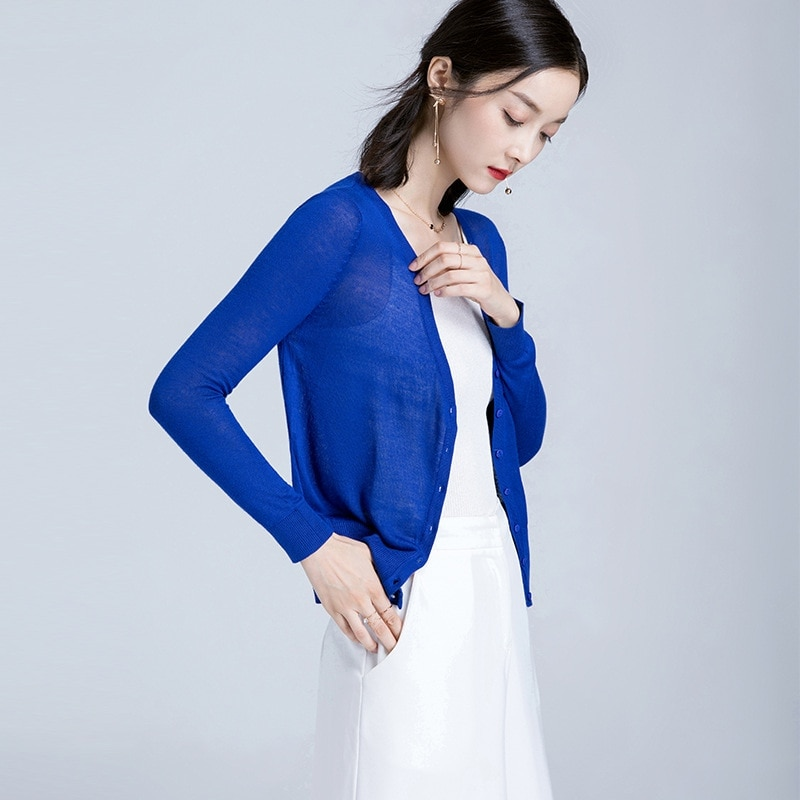 2020 sommer Dünne Jacke Frauen Strickjacke Blau Grün Volle Hülse Einreiher V-ausschnitt Dünne Oberbekleidung Damen Sueter Mujer 185013