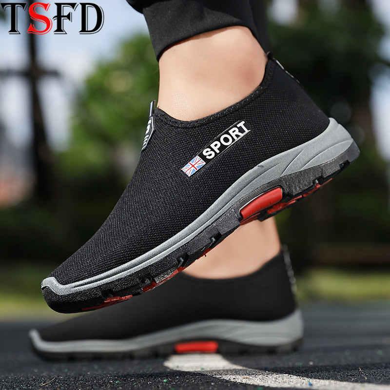 Air Mesh Men Sport Shoes Plus Size Men's Sneaker Summer Lightweight Running Shoes Low Top Sports Shoe Men Black Loafers 2020 V25