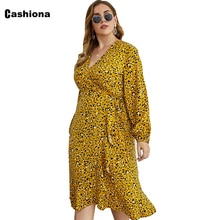 Plus Size 4xl Women Mid-Calf Dress 2021 Spring Autumn Bohemian Flower Print Dress Casual Sashes V-ne