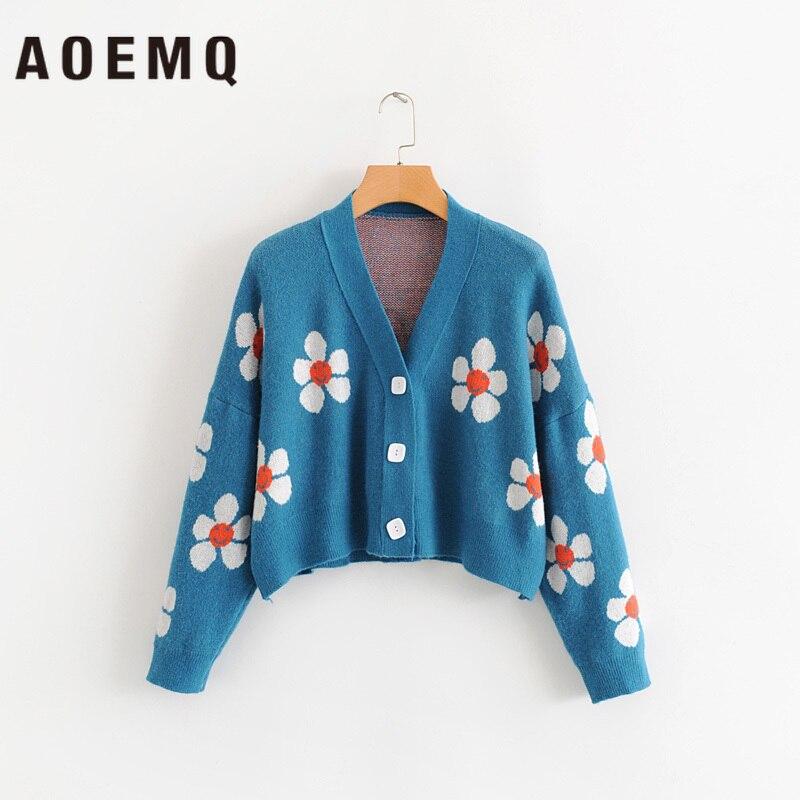 Aoemq mulheres cardigan blusas femininas bonito luz verde símbolo vida vintage camisola primavera camisolas com impressão de flores
