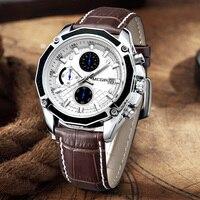 Люксовые часы от бренда MEGIR брендовые кварцевые мужские наручные часы, модная обувь из натуральной кожи хронограф часы для легкой мужской с...