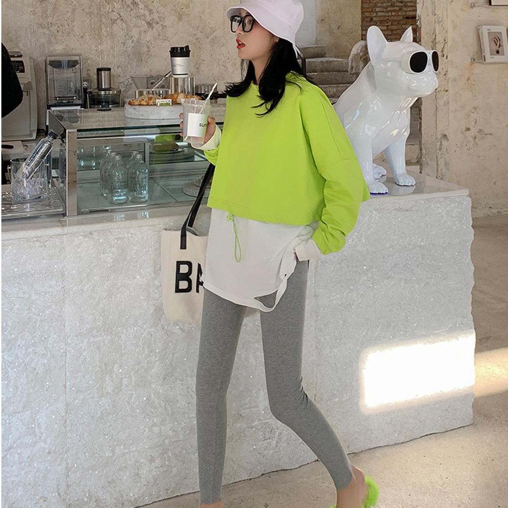 Womens Herfst Warm Single lengths Leggings Cato Geribbels Used Stripped Elastic Flat Effects Color Basic Bottom Skinny Broek