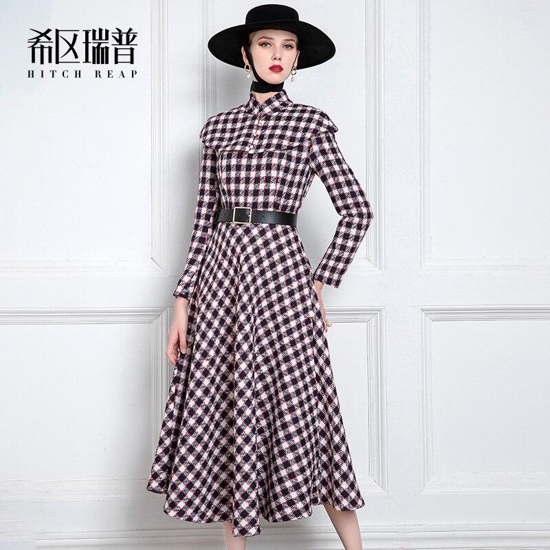 فستان عالي الجودة من التويد الصغيرة للربيع والخريف 2021 فستان كايب منقوش متوسط الطول للسيدات