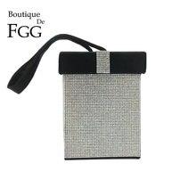 Boutique De FGG contraste couleur femmes mode cristal jour embrayages sac à main sac à main boîte-cadeau soirée bracelets fourre-tout pochette