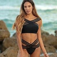 summer swimsuit women 2020 new plus size swimwear push up sexy solid bathing suit cross shoulder straps beach wear monokini