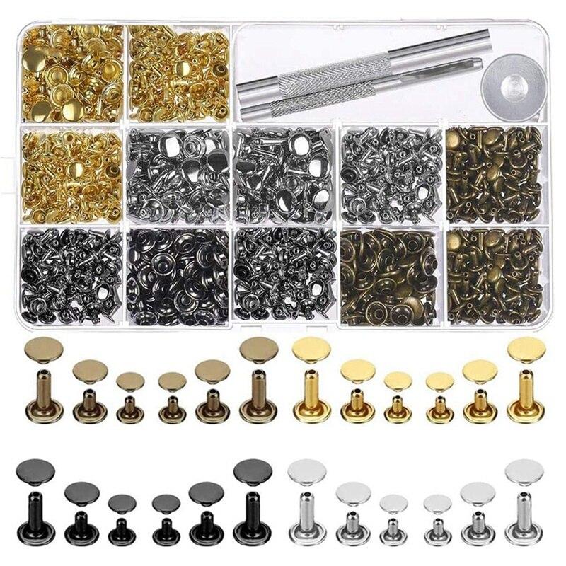 480 juegos de remaches de cuero 4 colores 3 tamaños remaches de cuero doble sombrero con remaches Metal Tubular tachuelas con 3 piezas herramienta de ajuste
